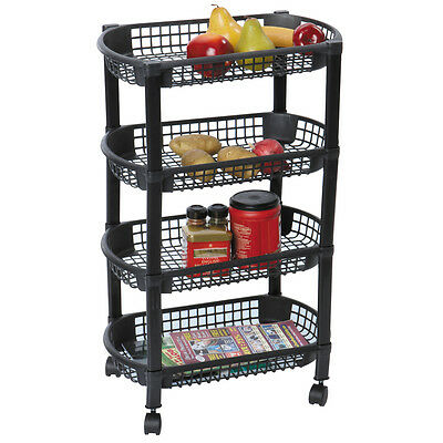 MBR Industries ST-31510 4-Tier Rolling Kitchen Cart, Black