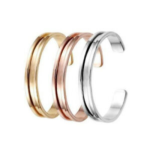 New Stainless Steel Cuff Bangle Hair Tie Bracelet for Women Band Elegant Indent