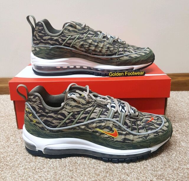 mapa Preguntar Final  Nike Air Max 98 AOP Khaki Olive Tiger Camo 97 Uk12 With Order Note for sale  online | eBay