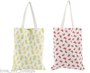 Fun-Slogan-Canvas-Shopping-Bag-Tote-Pineapple-Watermelon-Summer-Holiday-Shopper