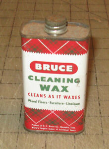 """Vtg (Pre-Zipcode) 4"""" Tall BRUCE CLEANING WAX 4oz Tin - with Product - 4 Display"""