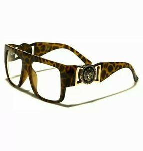 Oversize Flat Top Lion Head Buckle Medallion Non Prescription Clear Lens glasses