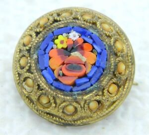 Antique-Italy-Italie-Gold-Toned-Blue-Red-Micro-Mosaic-Flowers-Glass-Pin-Brooch