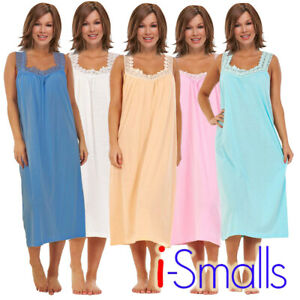 i-Smalls-Ladies-Sleeveless-Plain-100-Cotton-Nightshirt-Nightie