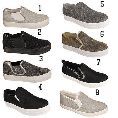 Señoras Zapatillas Resbalón en Zapatillas Zapatos de Mujer Stiletto Skater brillantes Plimsolls