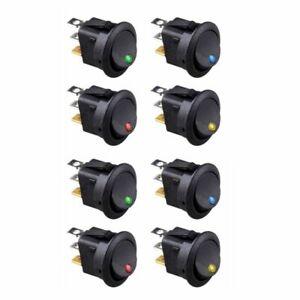 8PCS-LED-Dot-Light-12V-Car-Auto-Boat-Round-Rocker-ON-OFF-TOGGLE-SPST-SWITCH-A5K8