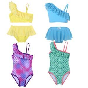 Kids-Girls-Tankini-Swimsuit-Ruffled-One-shoulder-Swimwear-Bathing-Suit-Beachwear