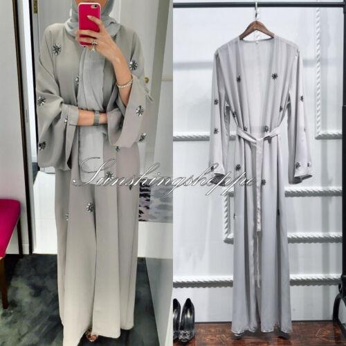 Abaya Muslim Women Cardigan Long Maxi Dress Open Front Robe Kaftan Dubai Jilbab