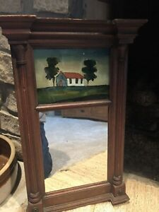 ANTIQUE FEDERAL PERIOD REVERSE PAINTED TWO PART MIRROR WITH BEADED 1/2 COLUMNS