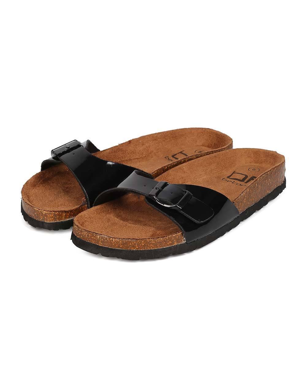 New Women Buckle Betani Margie-2 Patent Leatherette Buckle Women Slip On Sandal 22f359