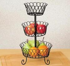 3 Tier Fruit Basket Decorative Metal Vegetable Stand Scroll Wire Kitchen Storage