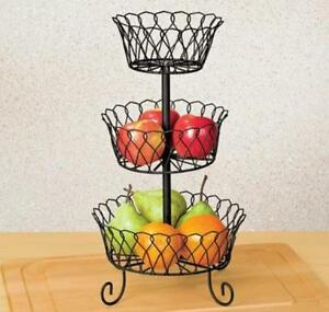 3 tier fruit basket decorative metal vegetable stand scroll wire kitchen storage ebay. Black Bedroom Furniture Sets. Home Design Ideas