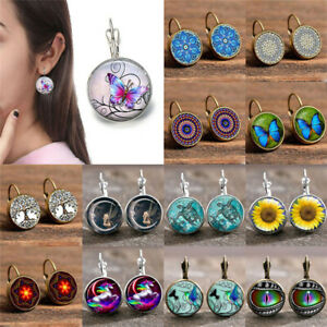 1 Pair Lady Round Stud Ear Glass Cabochon 18 MM Lever Back Earrings Jewelry Gift