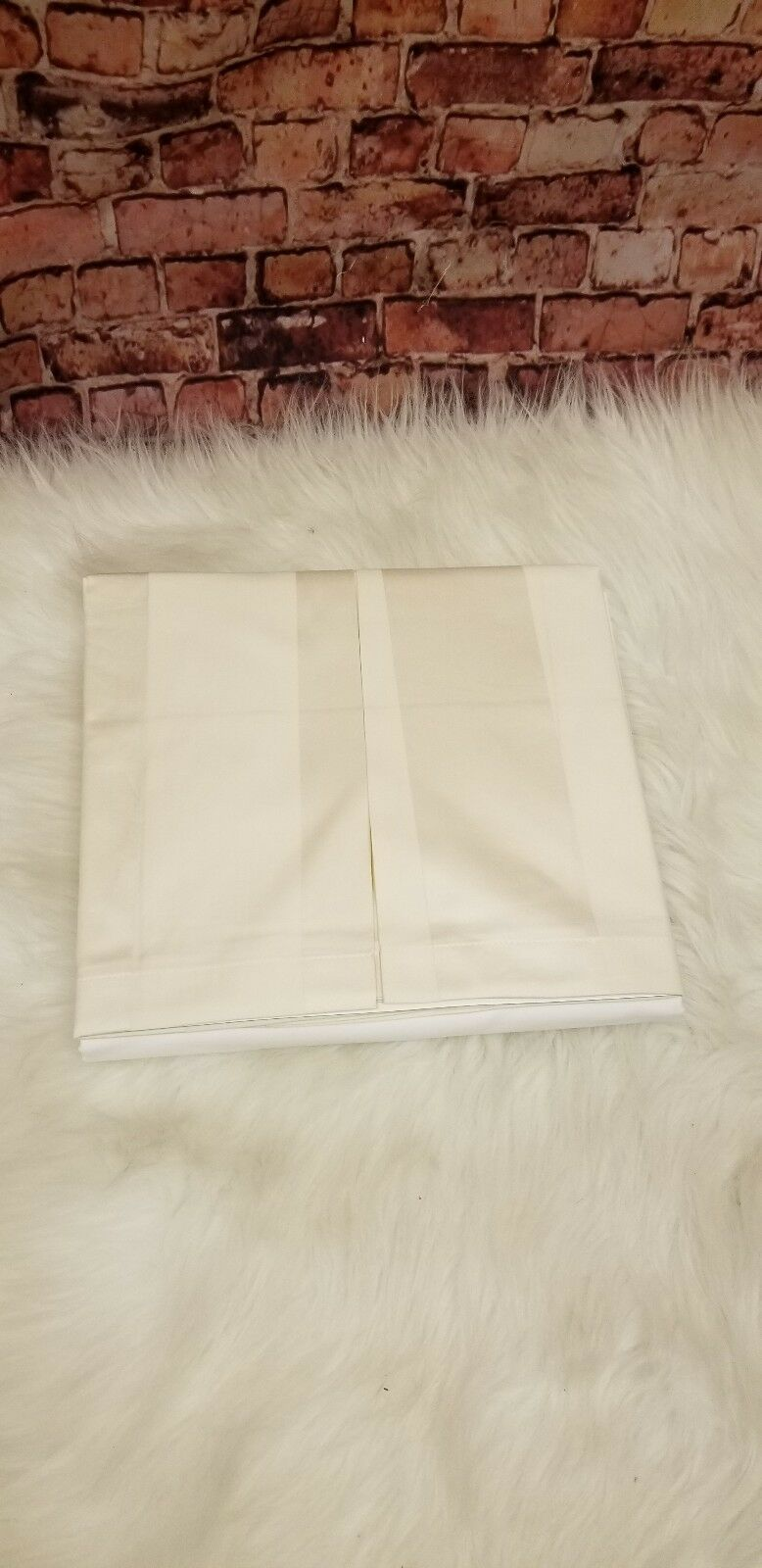 HUDSON PARK COLLECTION KING BED SKIRT STRIPE 16 '' SKIRT DROP 600 TC IVORY 100 %