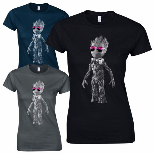 DJ Baby Groot Ladies T-Shirt Headphones Music Galaxy Party Disco Yoda Standing