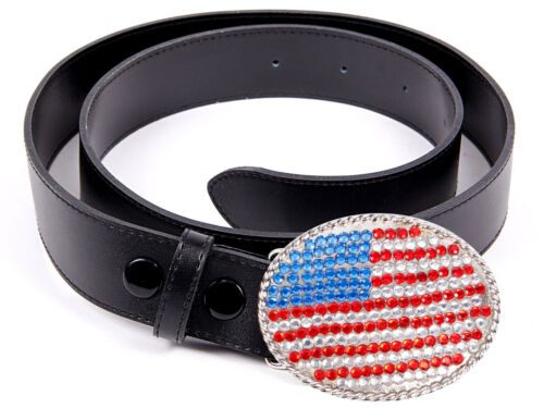 Jeans-Gürtel Leder Schwarz Strass Punk Glamour Bling 110 cm USA Amerika Freedom