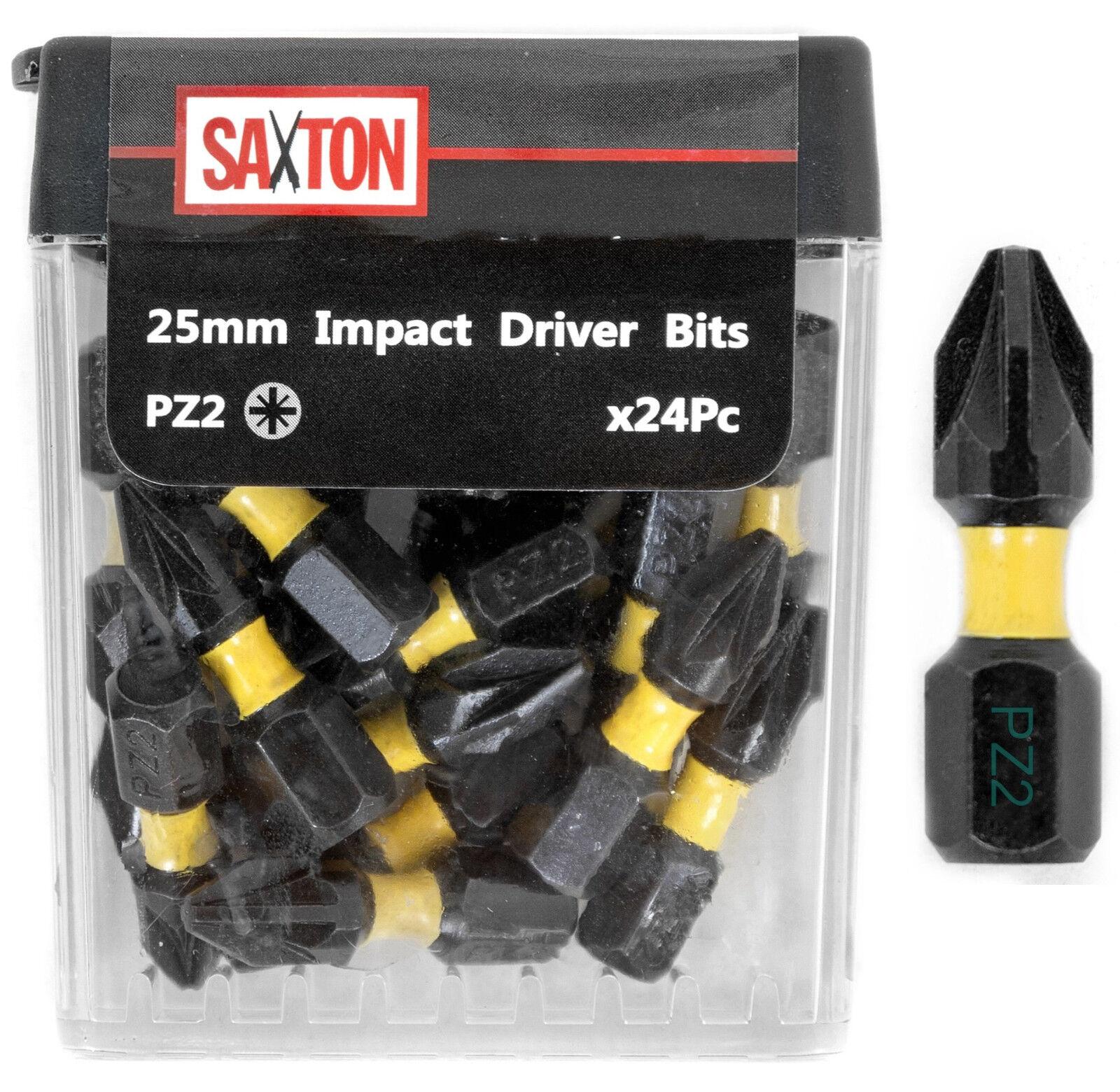 Saxton 24x PZ2-25mm Pozi-drive 2 Impact Duty Screwdriver Drill Bits Set