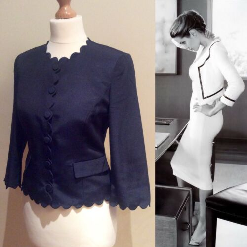 Size Scalloped Blue Hobbs Navy Pockets Mix Button Hem Jacket Cotton 8 Paaw7t