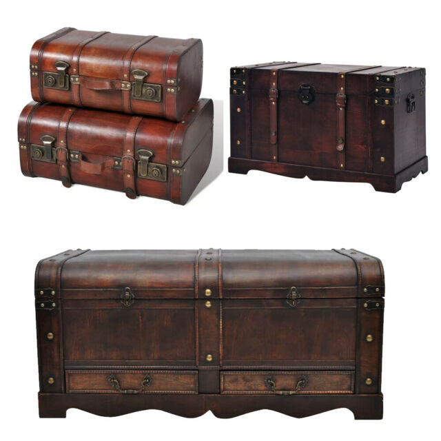 Large Wooden Brown Treasure Box Storage Chest Trunk Coffee Table Home Furniture