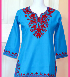 Burgundy-Embroidered-Turquoise-Color-Cotton-Tunic-Top-Kurti-from-India-Small