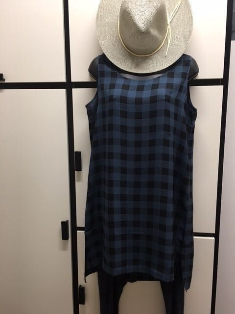 Eileen Fisher S Silk Fir Printed Large Plaid Buffalo Check Scoop Neck Tunic