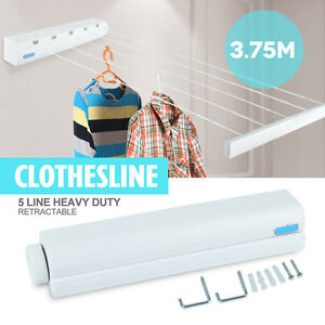148 Retractable 5 Line Laundry Dry Clothes Hang Drying Rack Wall