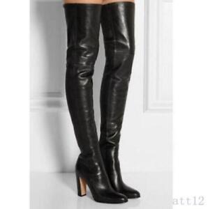 Mode PU Lackleder Damen Stiefel Schuhe Block Absatz Pumps Overkneestiefel High