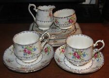 11 pcs Royal Albert Petit Point China Cream/Sugar/Cups/saucers/Bread & Lunch pla