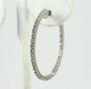 Diamond-inside-out-SINGLE-hoop-earring-14K-white-gold-27-round-brilliants-35CT