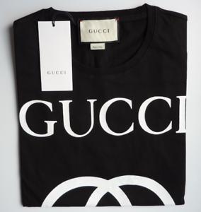 7aa7f5b69053 Gucci T-Shirt Men's Short Sleeve Black Cotton Logo Interlocking G ...