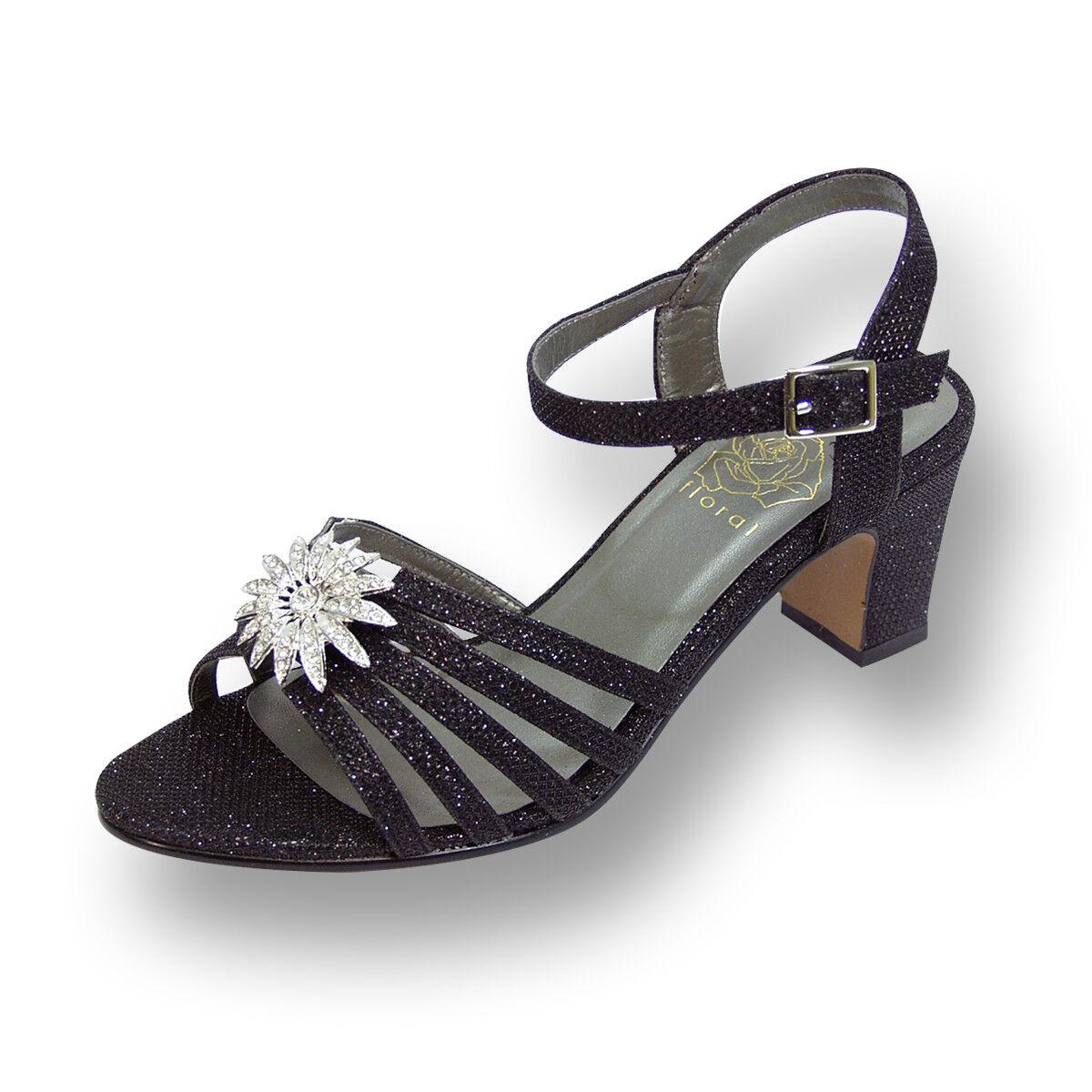 FIC FLORAL Melina Damens Wide Width Ankle Strap Buckle Rhinestone Flower Sandale
