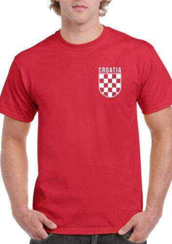 Croatia Badge T-Shirt Croatian Red White Check Hrvatska World Cup