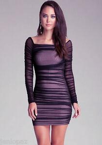 NWT bebe  XXS XS S M black mesh off shoulder long sleeve cocktail top dress