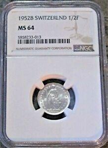 **PCGS MS64** 1952-B Switzerland 1/2 Franc km#23 - Silver Coin