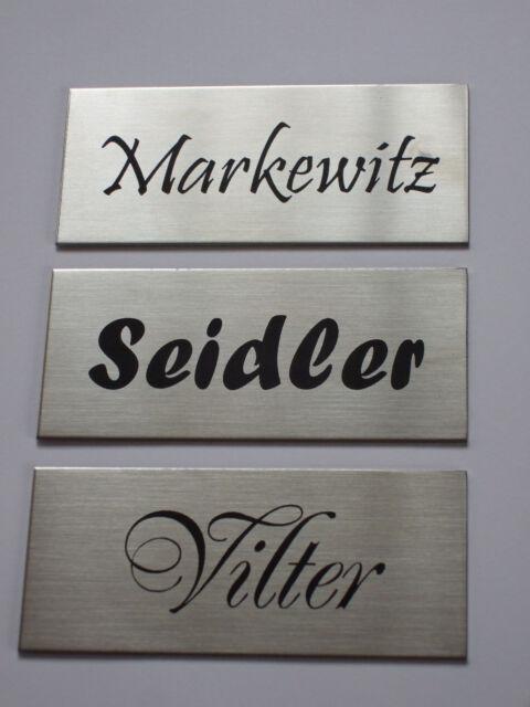 Edelstahl Klingelschild,Namensschild,Türschild, Briefkastenschild,klebend80x35mm