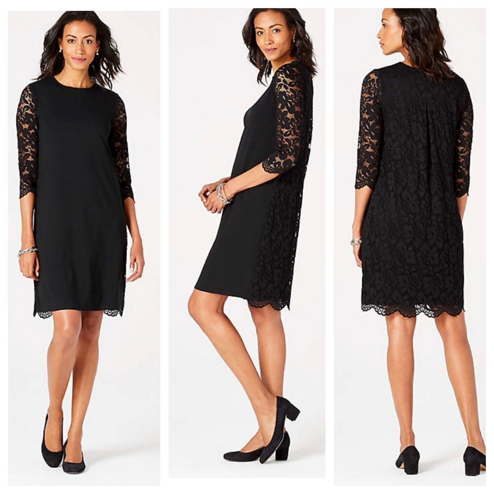 NWT J. Jill schwarz Lace Knit 3 4 Sleeve Dress Wearever Collection damen XS