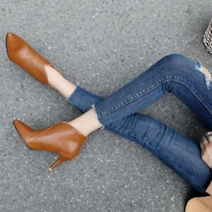 Women-Pointy-Toe-Ankle-Boots-Leather-Kitten-Heels-Solid-Plus-Size-Elegant-Shoes