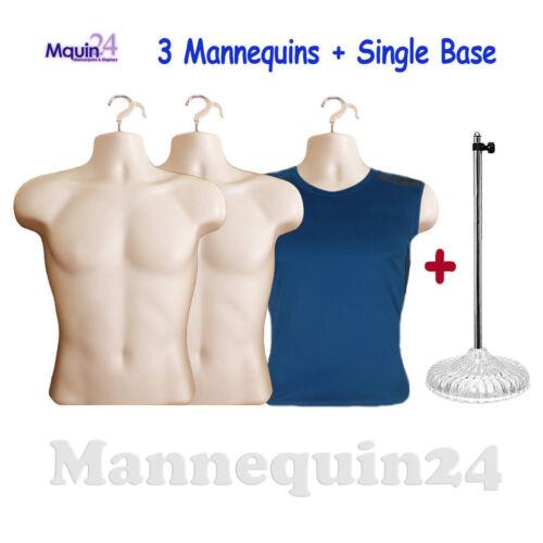 1 STAND DRESS FORM DISPLAY 3 HANGERS 3 PACK FLESH MALE TORSO MANNEQUINS