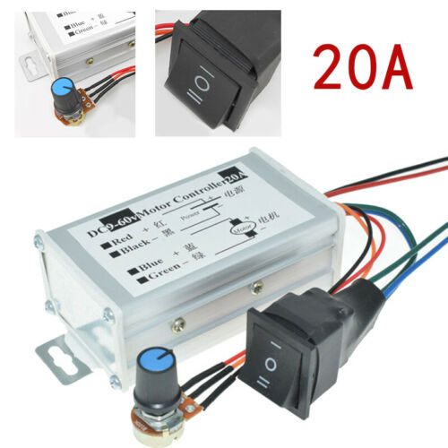 9-60V 12V 24V 36V 20A PWM DC Motor Speed Controller CW CCW Reversible Switch UK