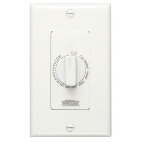Broan NuTone 57W Electronic Variable-Speed Fan Control in White 120V 3 Amps 60Hz