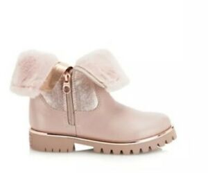 b4a1b78750e Details about Baker by Ted Baker Girls' pink faux fur trim boots BNWT RRP  £50