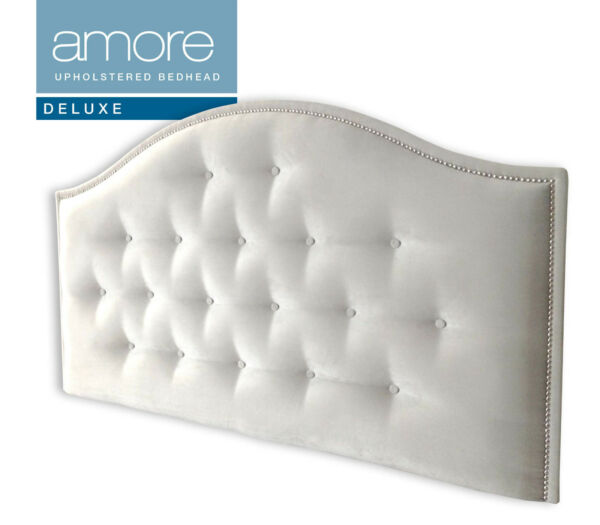 AMORE DELUXE CHROME Upholstered Bedhead / Headboard for Queen Size Ensemble