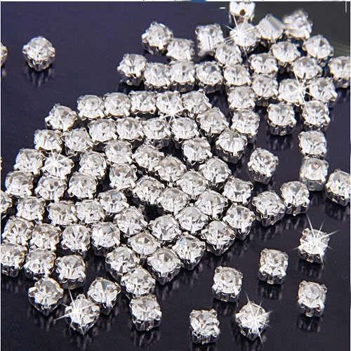 100pcs Sew on Clear Crystal Rhinestones Diamond Flatback Craft Dress Make