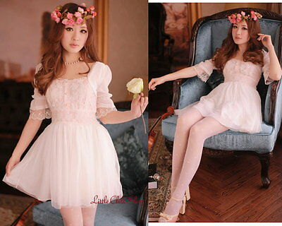 Kawaii Trendy Princess Cute Sweet Dolly Gothic Punk Lolita Lace Dress Pink M