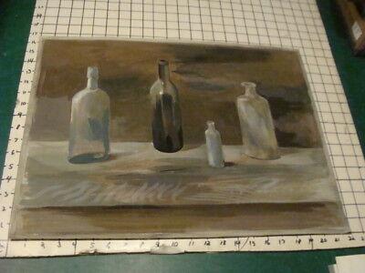 "Art Still Life Bottles 17 X 21 3/4"" feron Trend Mark Vintage Original Leslie Snow"