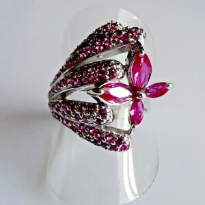 Handarbeit Navette Turmalin Rubin Cocktail Blumen Ring 925 Silber 17,8 mm 56