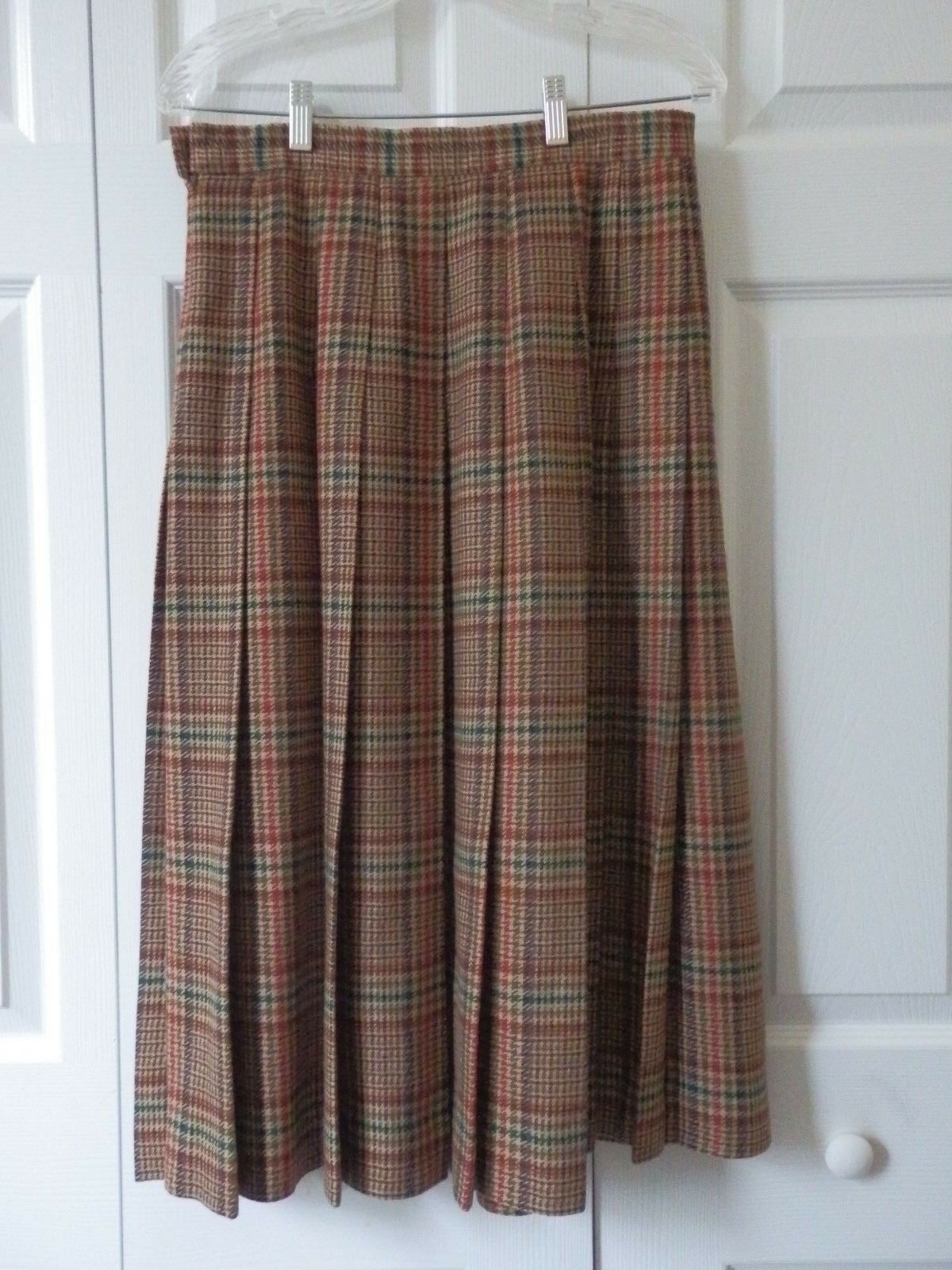 LL Bean Beige Red Brown Green Plaid 100% Pure Wool Pleated Lined Skirt 12 Petite