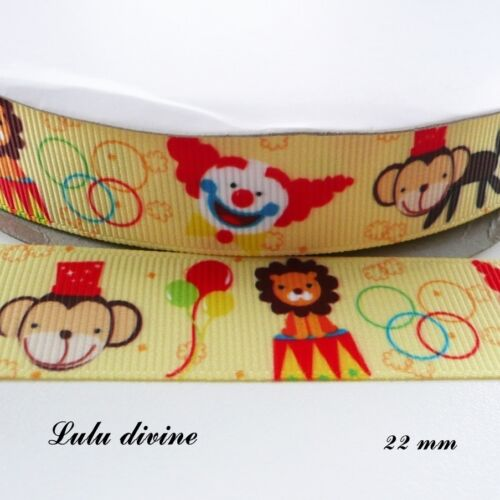 Ruban gros grain jaune Cirque Lion Clown Singe Ballon de 22 mm vendu au mètre