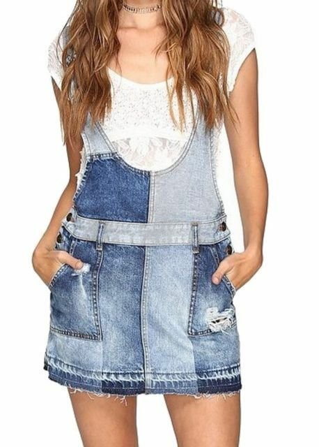 NWT Free People Denim Patch Skirt Jumper - Size 0