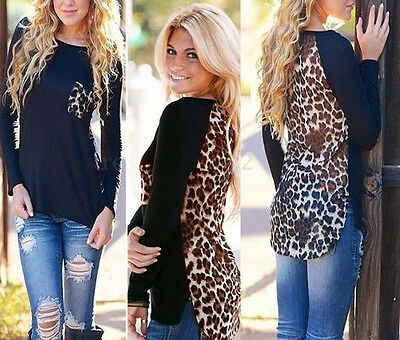 Zanzea Plus Women Leopard Print Long Sleeve Casual Loose T shirt Tops Blouse Tee